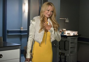 "Arrow -- ""Public Enemy"" -- Image AR318A_0107b -- Pictured: Charlotte Ross as Donna Smoak -- Photo: Diyah Pera/The CW, The CW Network www.collider.com"
