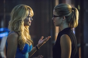 Charlotte Ross as Donna Smoak and Emily Bett Rickards as Felicity Smoak -- Photo: Cate Cameron/The CW www.ign.com